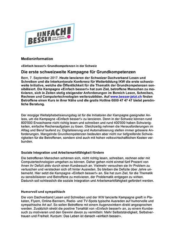 Medienmitteilung «Einfach besser!» Grundkompetenzen in der Schweiz