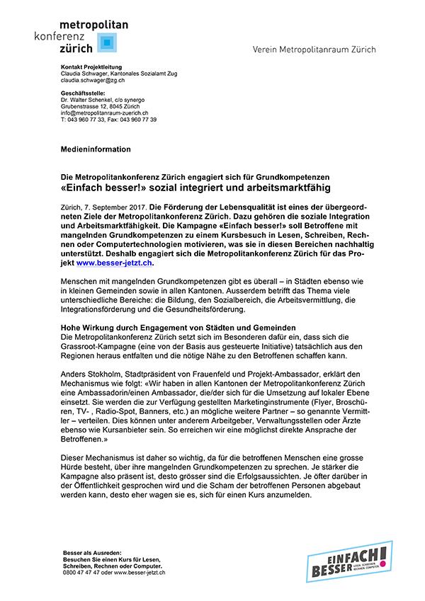 Medienmitteilung Metropolitankonferenz Zürich